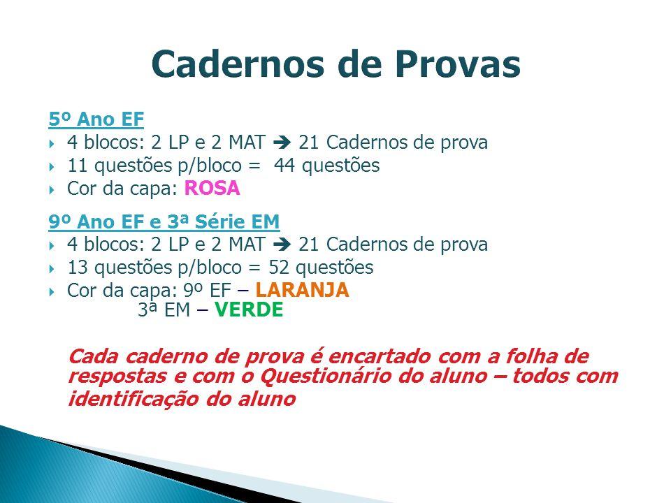 5º Ano EF 4 blocos: 2 LP e 2 MAT 21 Cadernos de prova 11 questões p/bloco = 44 questões Cor da capa: ROSA 9º Ano EF e 3ª Série EM 4 blocos: 2 LP e 2 M
