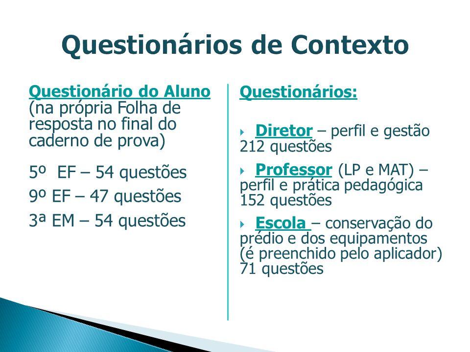 Questionário do Aluno (na própria Folha de resposta no final do caderno de prova) 5º EF – 54 questões 9º EF – 47 questões 3ª EM – 54 questões Question