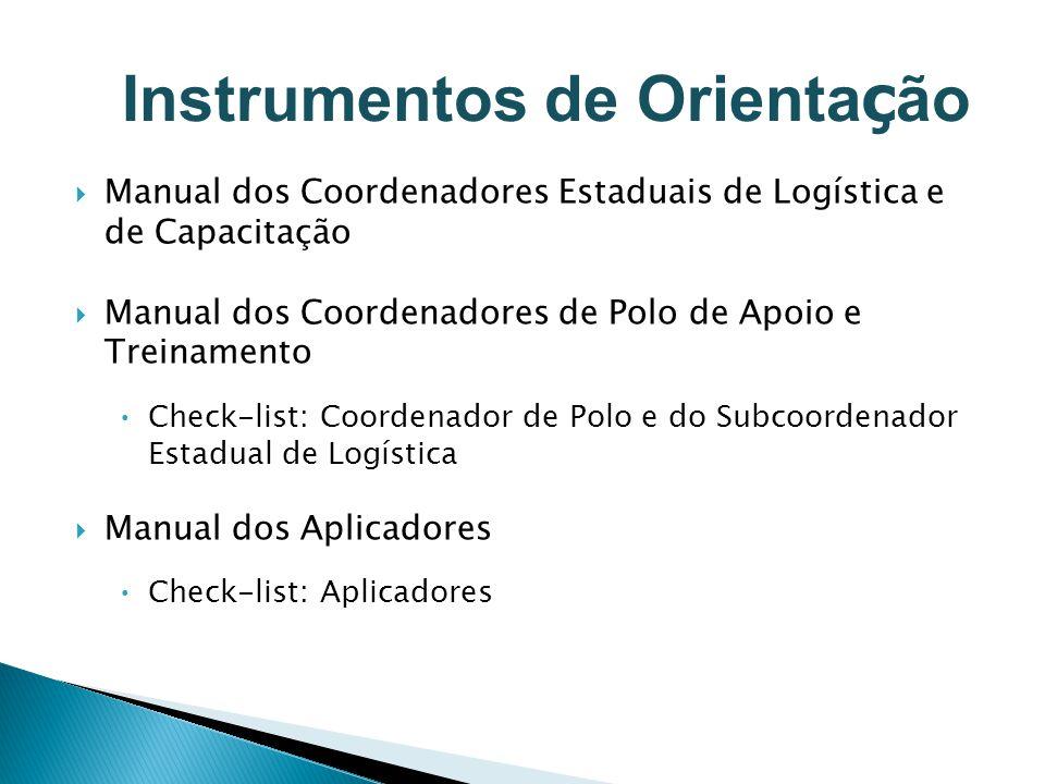 Manual dos Coordenadores Estaduais de Logística e de Capacitação Manual dos Coordenadores de Polo de Apoio e Treinamento Check-list: Coordenador de Po