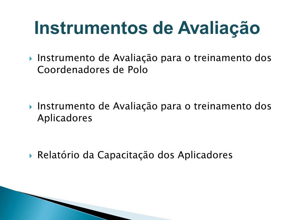 Instrumento de Avaliação para o treinamento dos Coordenadores de Polo Instrumento de Avaliação para o treinamento dos Aplicadores Relatório da Capacit