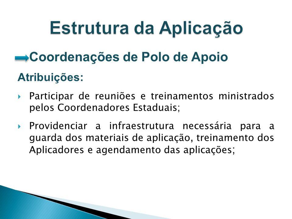 Coordenações de Polo de Apoio Atribuições: Participar de reuniões e treinamentos ministrados pelos Coordenadores Estaduais; Providenciar a infraestrut