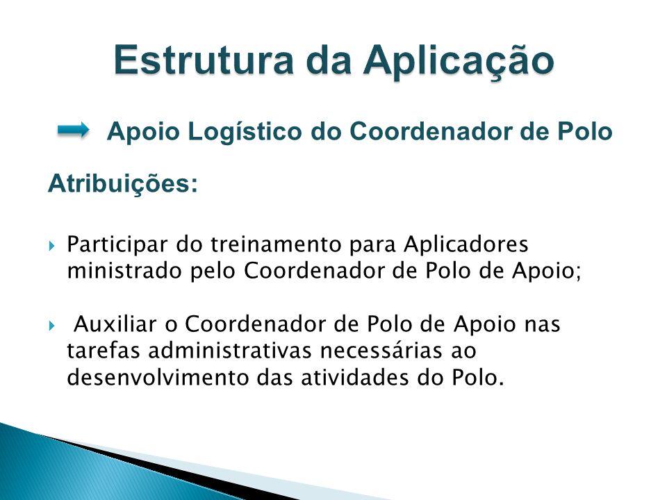Apoio Logístico do Coordenador de Polo Atribuições: Participar do treinamento para Aplicadores ministrado pelo Coordenador de Polo de Apoio; Auxiliar
