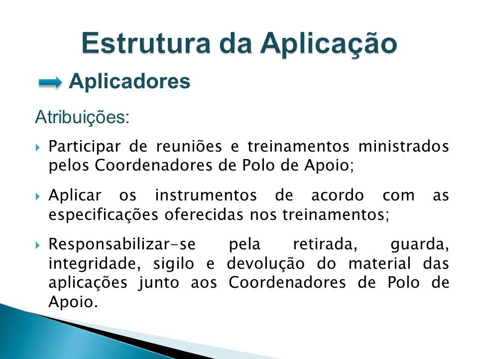 Aplicadores Atribuições: Participar de reuniões e treinamentos ministrados pelos Coordenadores de Polo de Apoio; Aplicar os instrumentos de acordo com