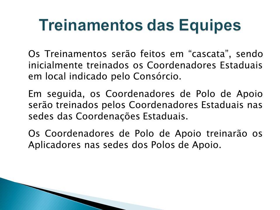Os Treinamentos serão feitos em cascata, sendo inicialmente treinados os Coordenadores Estaduais em local indicado pelo Consórcio. Em seguida, os Coor