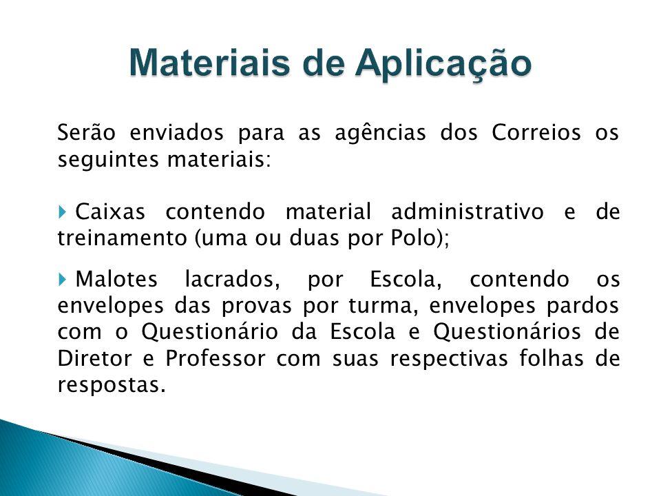 Serão enviados para as agências dos Correios os seguintes materiais: Caixas contendo material administrativo e de treinamento (uma ou duas por Polo);