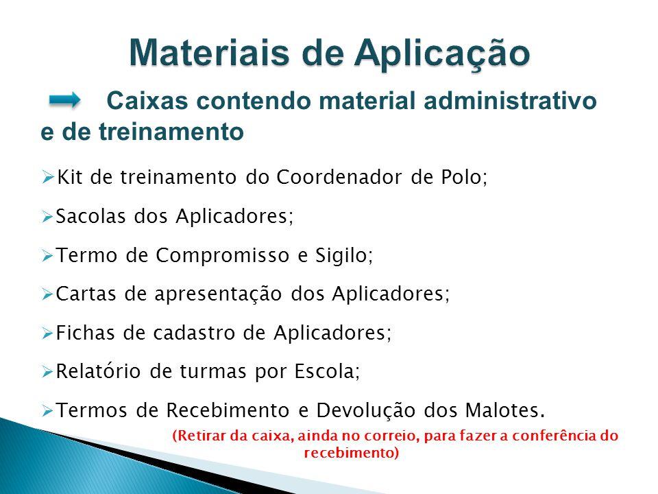 Caixas contendo material administrativo e de treinamento Kit de treinamento do Coordenador de Polo; Sacolas dos Aplicadores; Termo de Compromisso e Si