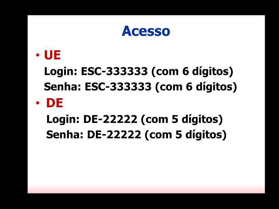 Acesso UE Login: ESC-333333 (com 6 dígitos) Senha: ESC-333333 (com 6 dígitos) DE Login: DE-22222 (com 5 dígitos) Senha: DE-22222 (com 5 dígitos)