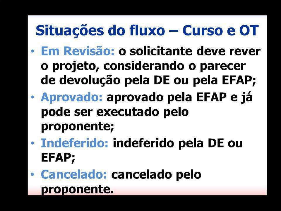 Situações do fluxo – Curso e OT Em Revisão: o solicitante deve rever o projeto, considerando o parecer de devolução pela DE ou pela EFAP; Aprovado: ap