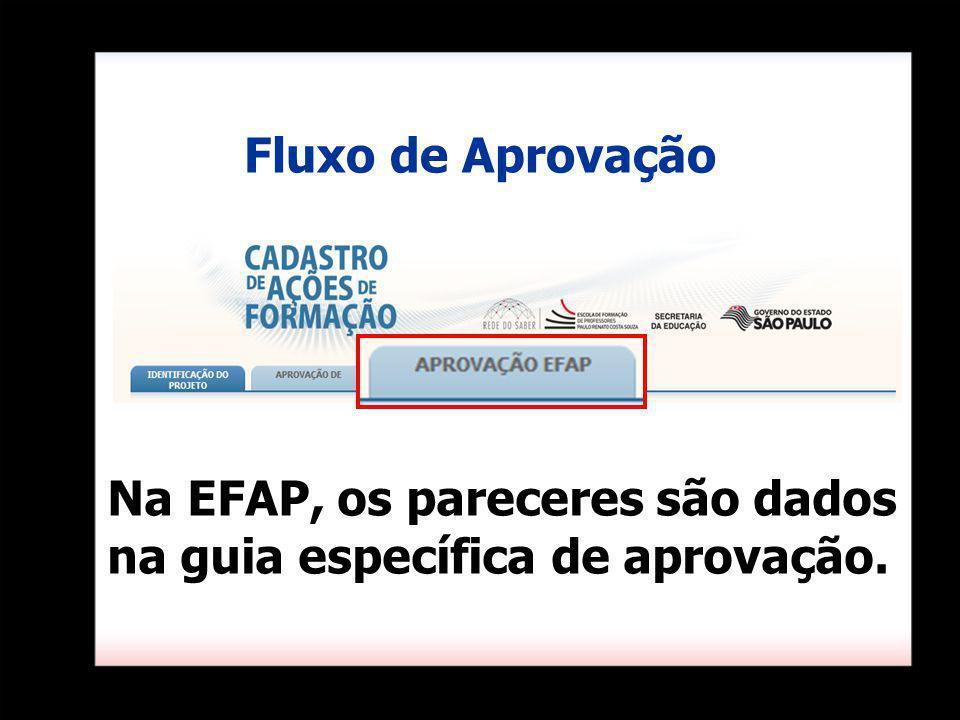 Na EFAP, os pareceres são dados na guia específica de aprovação. Fluxo de Aprovação