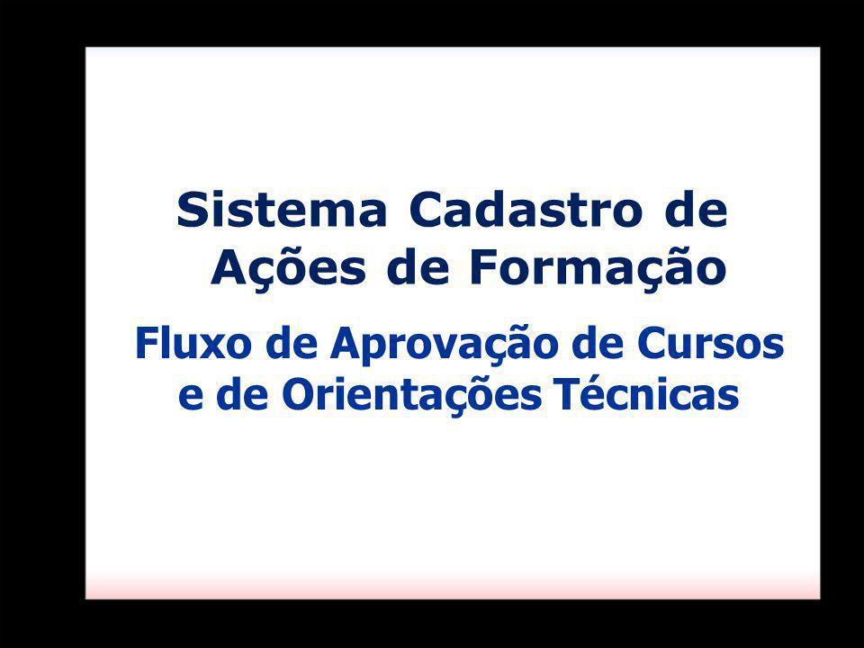 Sistema Cadastro de Ações de Formação Fluxo de Aprovação de Cursos e de Orientações Técnicas
