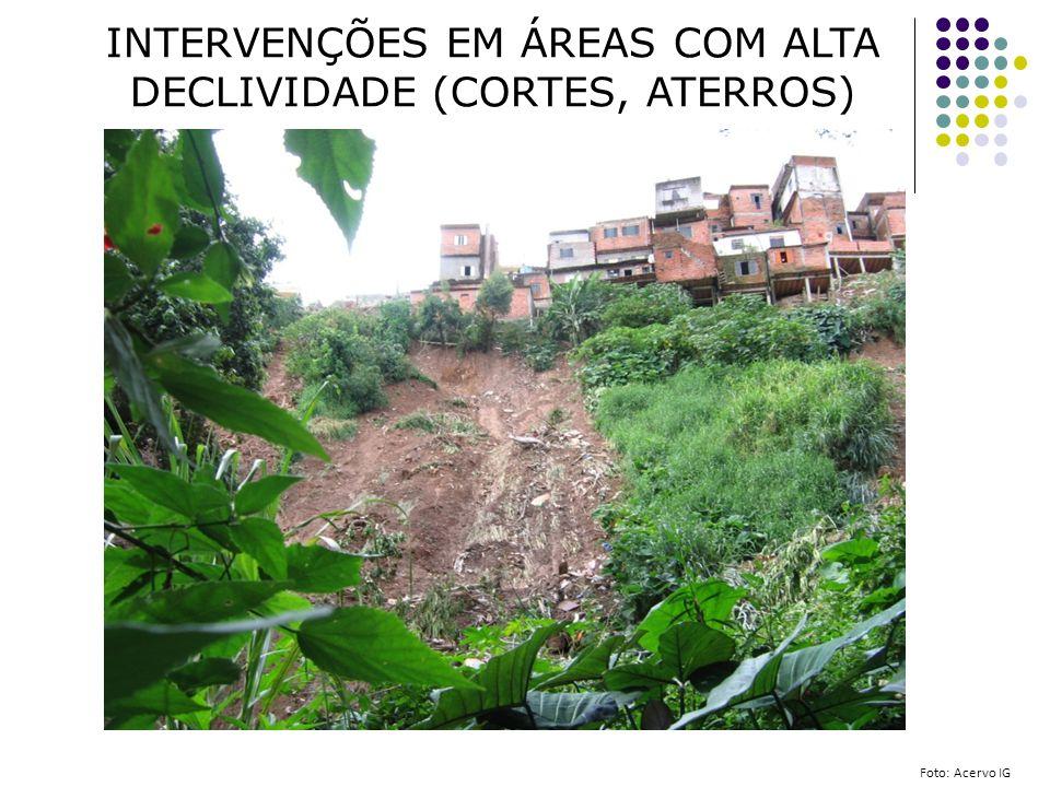 INTERVENÇÕES EM ÁREAS COM ALTA DECLIVIDADE (CORTES, ATERROS) Foto: Acervo IG