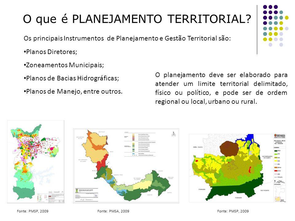 O que é PLANEJAMENTO TERRITORIAL? Os principais Instrumentos de Planejamento e Gestão Territorial são: Planos Diretores; Zoneamentos Municipais; Plano