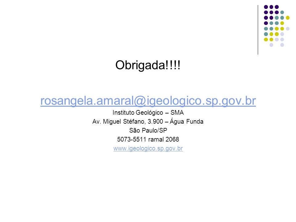 Obrigada!!!! rosangela.amaral@igeologico.sp.gov.br Instituto Geológico – SMA Av. Miguel Stéfano, 3.900 – Água Funda São Paulo/SP 5073-5511 ramal 2068
