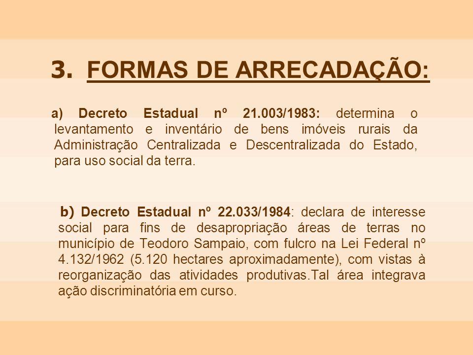 3. FORMAS DE ARRECADAÇÃO: a) Decreto Estadual nº 21.003/1983: determina o levantamento e inventário de bens imóveis rurais da Administração Centraliza