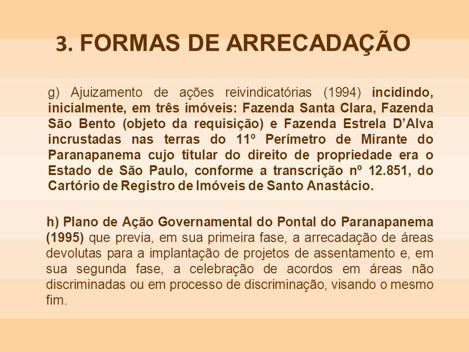 g) Ajuizamento de ações reivindicatórias (1994) incidindo, inicialmente, em três imóveis: Fazenda Santa Clara, Fazenda São Bento (objeto da requisição
