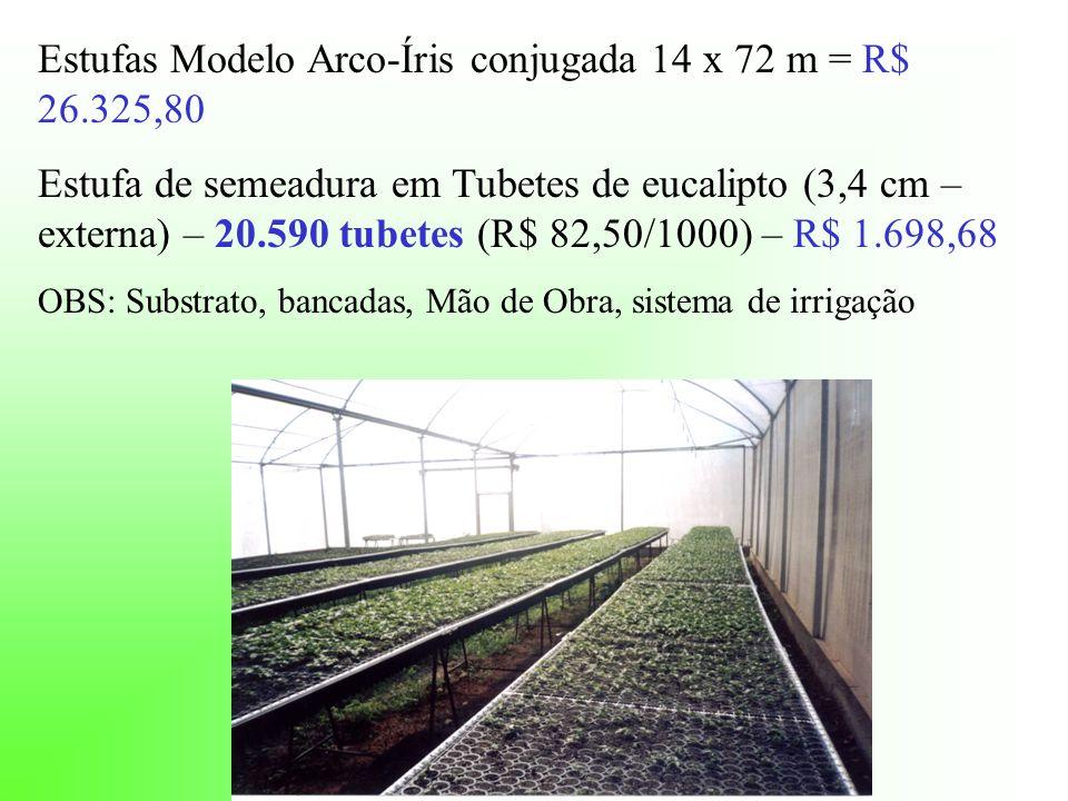 Estufas Modelo Arco-Íris conjugada 14 x 72 m = R$ 26.325,80 Estufa de semeadura em Tubetes de eucalipto (3,4 cm – externa) – 20.590 tubetes (R$ 82,50/1000) – R$ 1.698,68 OBS: Substrato, bancadas, Mão de Obra, sistema de irrigação