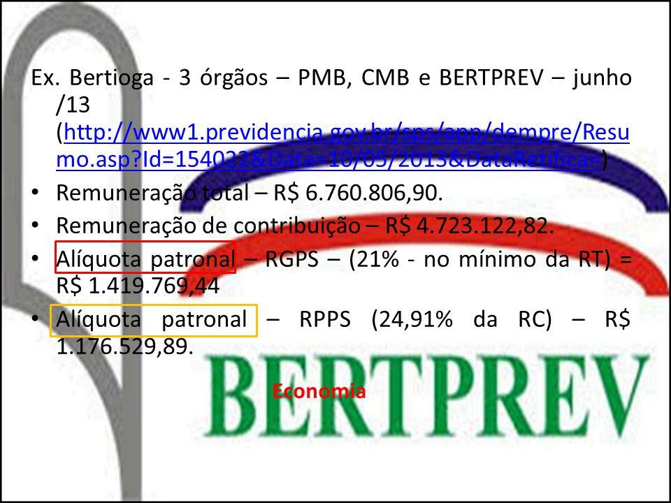 Ex. Bertioga - 3 órgãos – PMB, CMB e BERTPREV – junho /13 (http://www1.previdencia.gov.br/sps/app/dempre/Resu mo.asp?Id=154022&Data=10/05/2013&DataRet