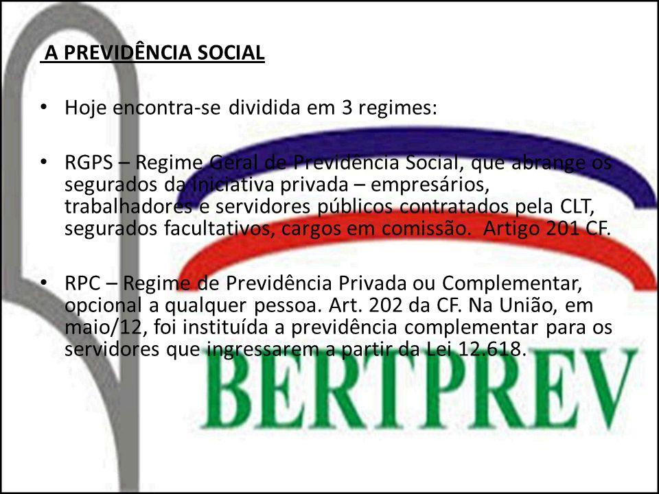 A PREVIDÊNCIA SOCIAL Hoje encontra-se dividida em 3 regimes: RGPS – Regime Geral de Previdência Social, que abrange os segurados da iniciativa privada