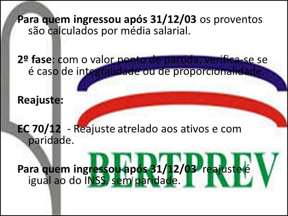 Para quem ingressou após 31/12/03 os proventos são calculados por média salarial.