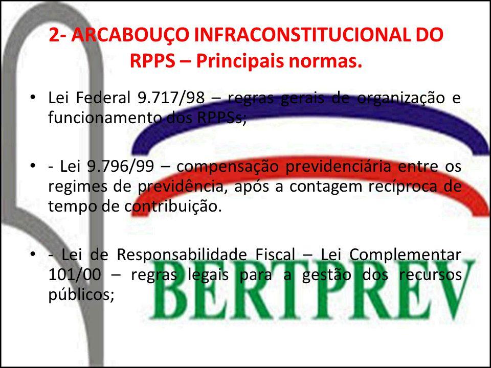 2- ARCABOUÇO INFRACONSTITUCIONAL DO RPPS – Principais normas. Lei Federal 9.717/98 – regras gerais de organização e funcionamento dos RPPSs; - Lei 9.7