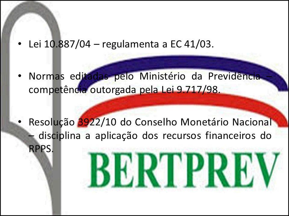 Lei 10.887/04 – regulamenta a EC 41/03. Normas editadas pelo Ministério da Previdência – competência outorgada pela Lei 9.717/98. Resolução 3922/10 do