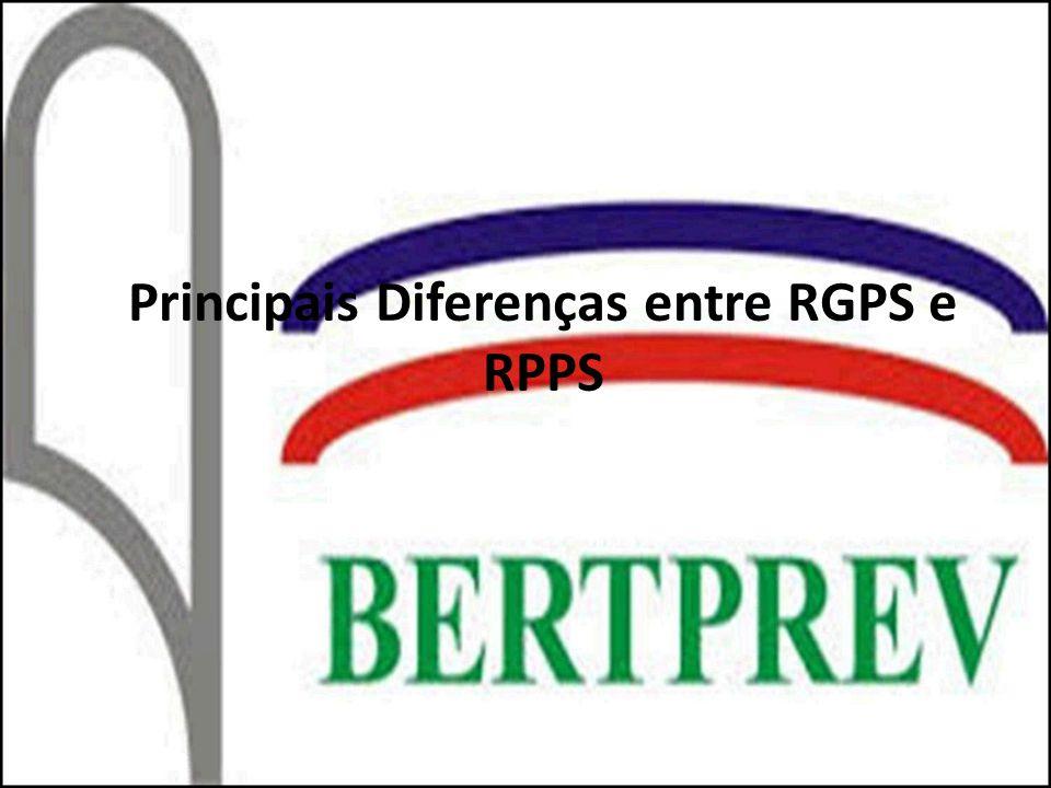 1ª Diferença: ALIQUOTA ItemRGPSItemRPPS Aliquota Empregado até R$ 1.247,70 (8%) Servidor11% de R$ 1.247,71 até R$ 2.079,50 (9%) de R$ 2.079,51 até R$ 4.159,00 (11%) Patronal 20% + 1%, 2% ou 3% de acordo com o risco envolvido na atividade da empresa + contribuição a terceiros (SESC,SESI, SENAT) Patronal25,74%