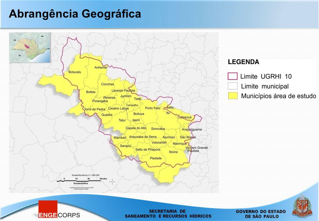 SECRETARIA DE SANEAMENTO E ENERGIA DEPARTAMENTO DE ÁGUAS E ENERGIA ELÉTRICA - DAEE SECRETARIA DE SANEAMENTO E RECURSOS HÍDRICOS SECRETARIA DE SANEAMENTO E RECURSOS HÍDRICOS GOVERNO DO ESTADO DE SÃO PAULO Abrangência Geográfica