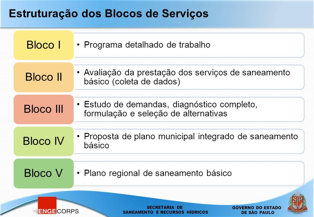 SECRETARIA DE SANEAMENTO E ENERGIA DEPARTAMENTO DE ÁGUAS E ENERGIA ELÉTRICA - DAEE SECRETARIA DE SANEAMENTO E RECURSOS HÍDRICOS SECRETARIA DE SANEAMENTO E RECURSOS HÍDRICOS GOVERNO DO ESTADO DE SÃO PAULO Programa detalhado de trabalho Bloco I Avaliação da prestação dos serviços de saneamento básico (coleta de dados) Bloco II Estudo de demandas, diagnóstico completo, formulação e seleção de alternativas Bloco III Proposta de plano municipal integrado de saneamento básico Bloco IV Plano regional de saneamento básico Bloco V Estruturação dos Blocos de Serviços