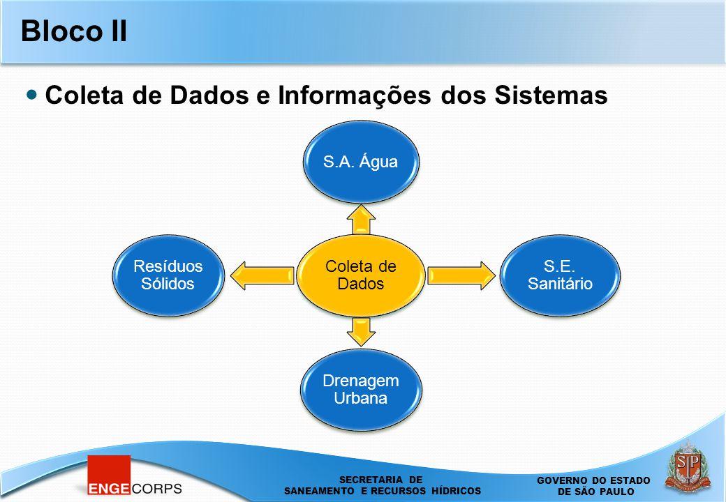 SECRETARIA DE SANEAMENTO E ENERGIA DEPARTAMENTO DE ÁGUAS E ENERGIA ELÉTRICA - DAEE SECRETARIA DE SANEAMENTO E RECURSOS HÍDRICOS SECRETARIA DE SANEAMENTO E RECURSOS HÍDRICOS GOVERNO DO ESTADO DE SÃO PAULO Bloco II Coleta de Dados S.A.