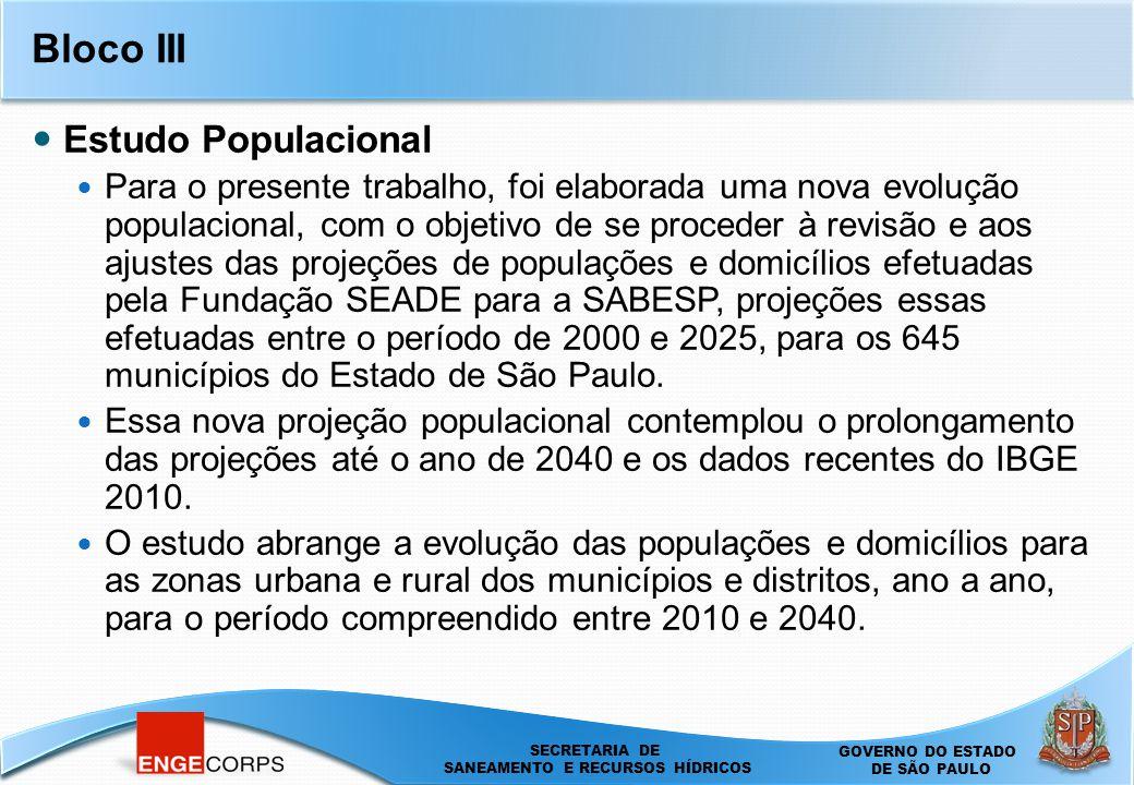 SECRETARIA DE SANEAMENTO E ENERGIA DEPARTAMENTO DE ÁGUAS E ENERGIA ELÉTRICA - DAEE SECRETARIA DE SANEAMENTO E RECURSOS HÍDRICOS SECRETARIA DE SANEAMENTO E RECURSOS HÍDRICOS GOVERNO DO ESTADO DE SÃO PAULO Bloco III Estudo Populacional Para o presente trabalho, foi elaborada uma nova evolução populacional, com o objetivo de se proceder à revisão e aos ajustes das projeções de populações e domicílios efetuadas pela Fundação SEADE para a SABESP, projeções essas efetuadas entre o período de 2000 e 2025, para os 645 municípios do Estado de São Paulo.