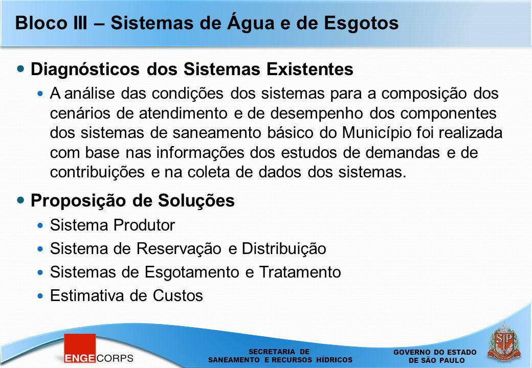 SECRETARIA DE SANEAMENTO E ENERGIA DEPARTAMENTO DE ÁGUAS E ENERGIA ELÉTRICA - DAEE SECRETARIA DE SANEAMENTO E RECURSOS HÍDRICOS SECRETARIA DE SANEAMENTO E RECURSOS HÍDRICOS GOVERNO DO ESTADO DE SÃO PAULO Bloco III – Sistemas de Água e de Esgotos Diagnósticos dos Sistemas Existentes A análise das condições dos sistemas para a composição dos cenários de atendimento e de desempenho dos componentes dos sistemas de saneamento básico do Município foi realizada com base nas informações dos estudos de demandas e de contribuições e na coleta de dados dos sistemas.
