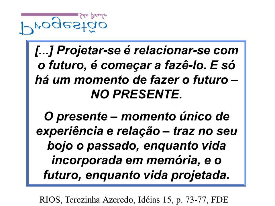 [...] Projetar-se é relacionar-se com o futuro, é começar a fazê-lo. E só há um momento de fazer o futuro – NO PRESENTE. O presente – momento único de