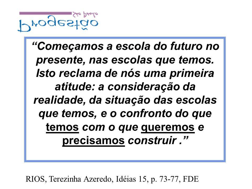 Começamos a escola do futuro no presente, nas escolas que temos. Isto reclama de nós uma primeira atitude: a consideração da realidade, da situação da