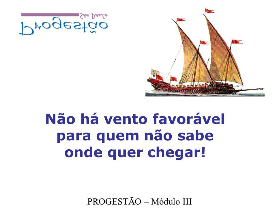 Não há vento favorável para quem não sabe onde quer chegar! PROGESTÃO – Módulo III