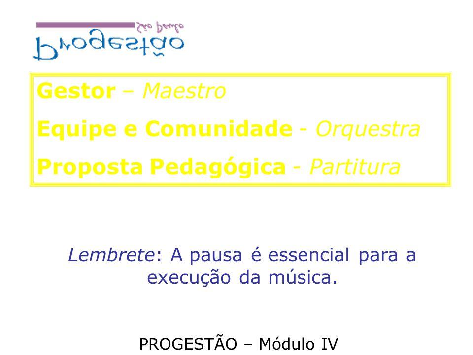Gestor – Maestro Equipe e Comunidade - Orquestra Proposta Pedagógica - Partitura Lembrete: A pausa é essencial para a execução da música. PROGESTÃO –