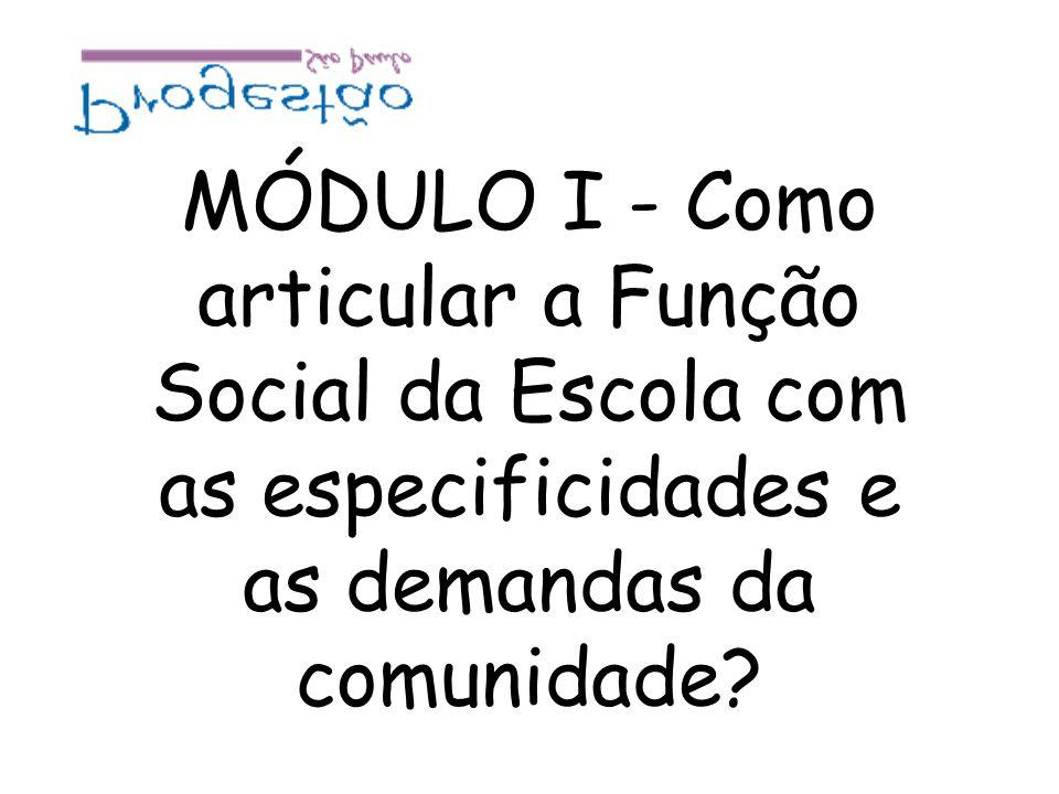 MÓDULO I - Como articular a Função Social da Escola com as especificidades e as demandas da comunidade?