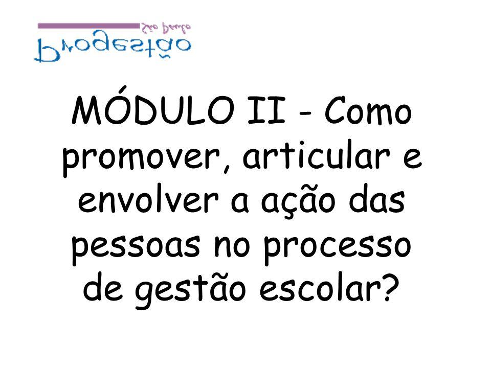 MÓDULO II - Como promover, articular e envolver a ação das pessoas no processo de gestão escolar?