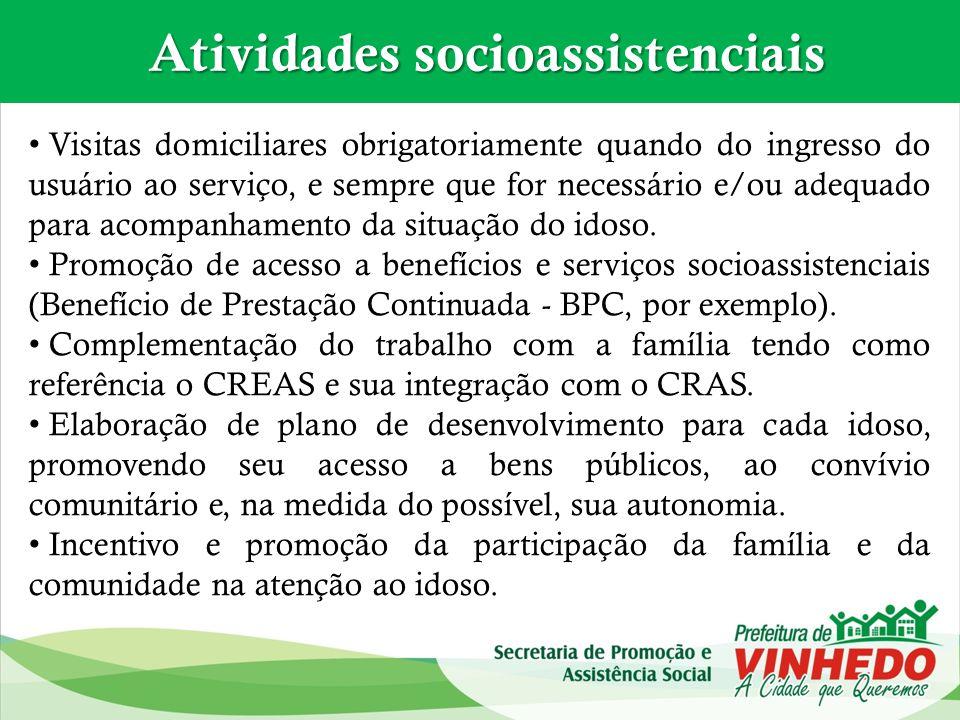 Atividades socioassistenciais Atividades socioassistenciais Visitas domiciliares obrigatoriamente quando do ingresso do usuário ao serviço, e sempre q