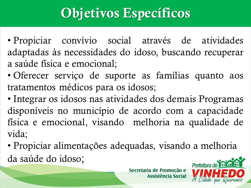 Propiciar convívio social através de atividades adaptadas às necessidades do idoso, buscando recuperar a saúde física e emocional; Oferecer serviço de