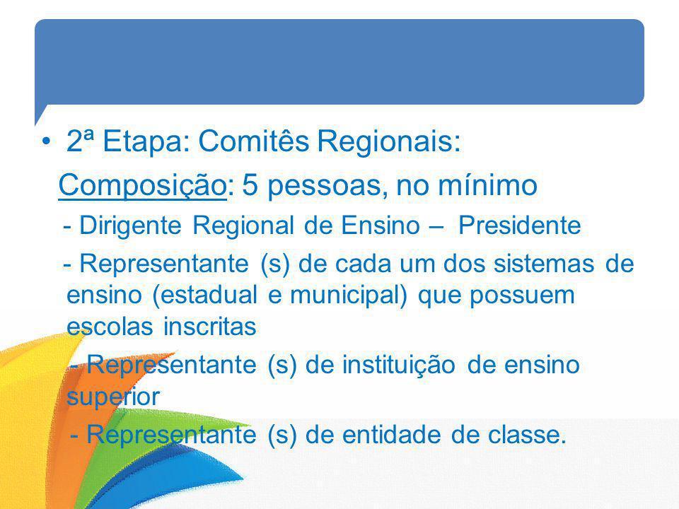 2ª Etapa: Comitês Regionais: Composição: 5 pessoas, no mínimo - Dirigente Regional de Ensino – Presidente - Representante (s) de cada um dos sistemas