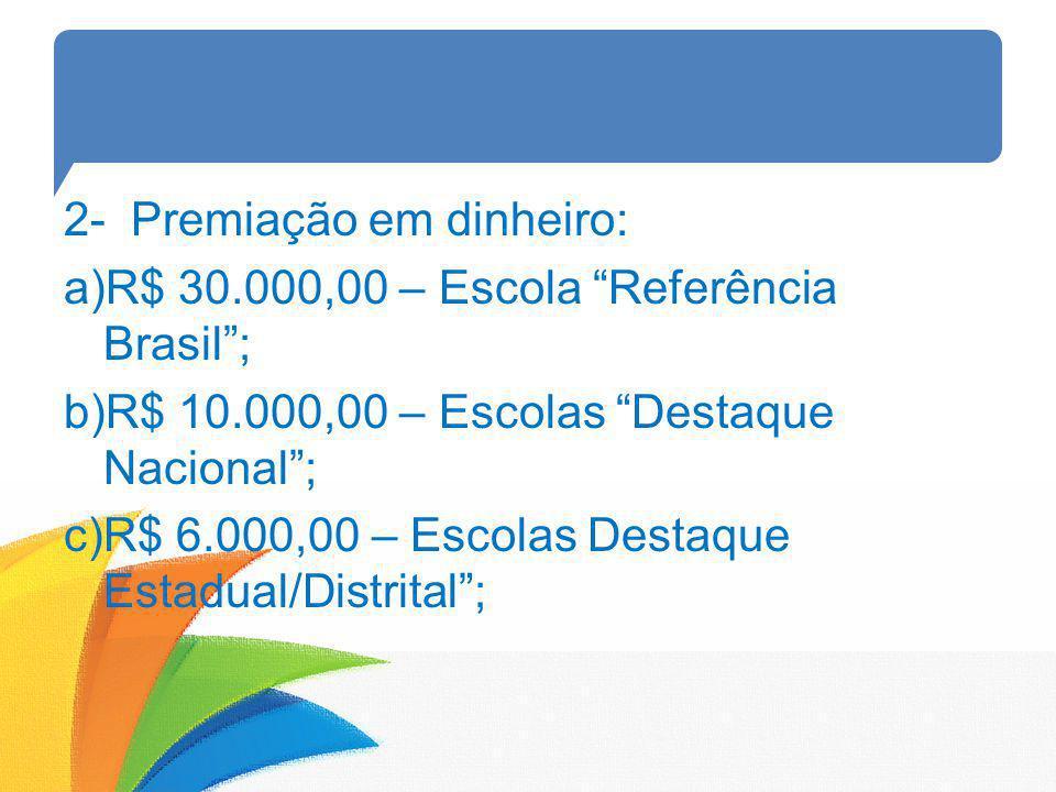 2- Premiação em dinheiro: a)R$ 30.000,00 – Escola Referência Brasil; b)R$ 10.000,00 – Escolas Destaque Nacional; c)R$ 6.000,00 – Escolas Destaque Esta
