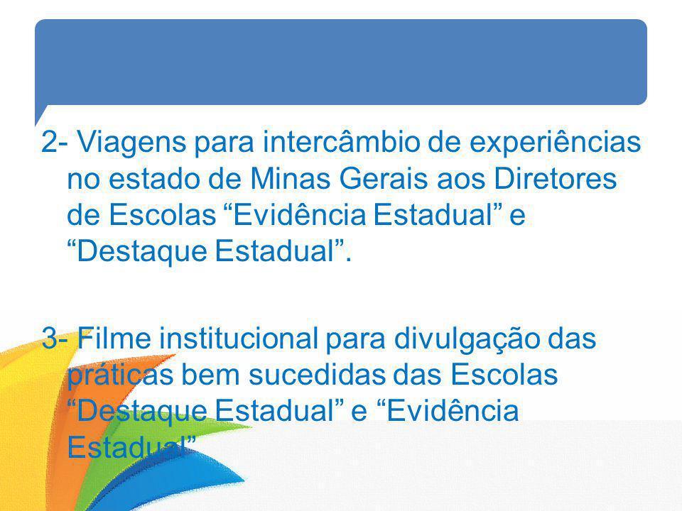 2- Viagens para intercâmbio de experiências no estado de Minas Gerais aos Diretores de Escolas Evidência Estadual e Destaque Estadual. 3- Filme instit