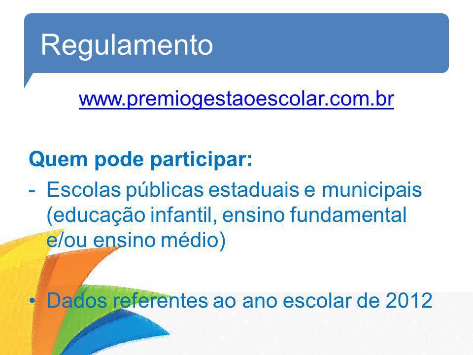Regulamento www.premiogestaoescolar.com.br Quem pode participar: -Escolas públicas estaduais e municipais (educação infantil, ensino fundamental e/ou