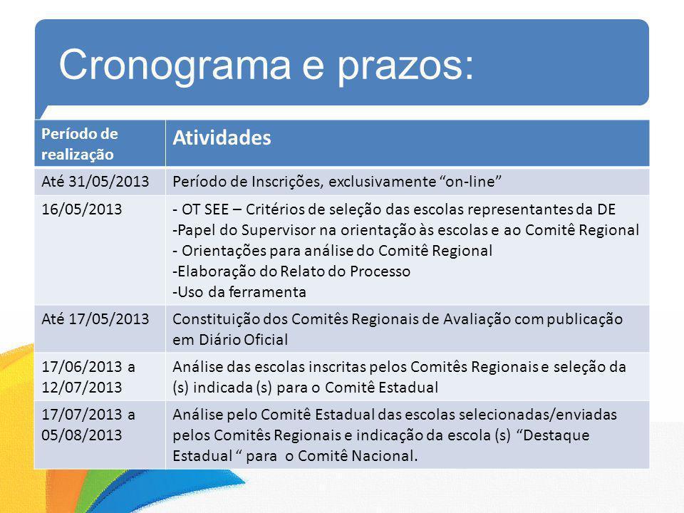 Cronograma e prazos: Período de realização Atividades Até 31/05/2013Período de Inscrições, exclusivamente on-line 16/05/2013- OT SEE – Critérios de se