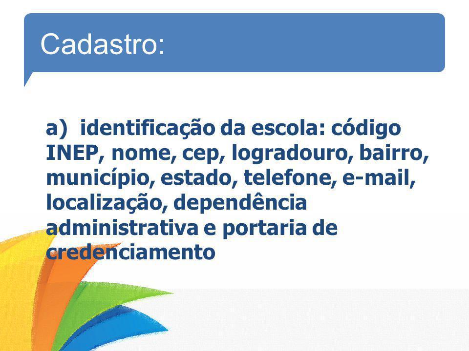 a) identificação da escola: código INEP, nome, cep, logradouro, bairro, município, estado, telefone, e-mail, localização, dependência administrativa e