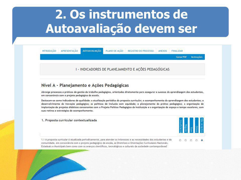 2. Os instrumentos de Autoavaliação devem ser preenchidos no próprio site