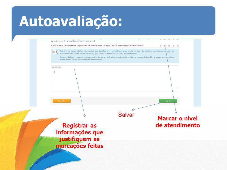Autoavaliação: Marcar o nível de atendimento Registrar as informações que justifiquem as marcações feitas Salvar