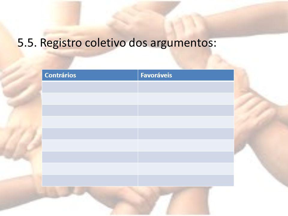5.5. Registro coletivo dos argumentos: ContráriosFavoráveis