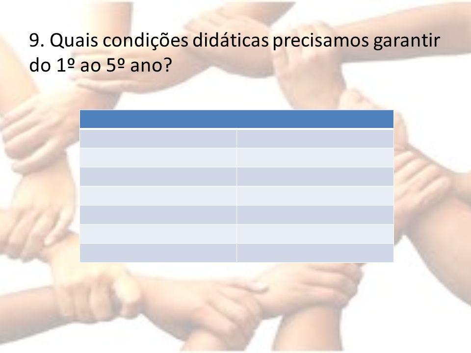 9. Quais condições didáticas precisamos garantir do 1º ao 5º ano?