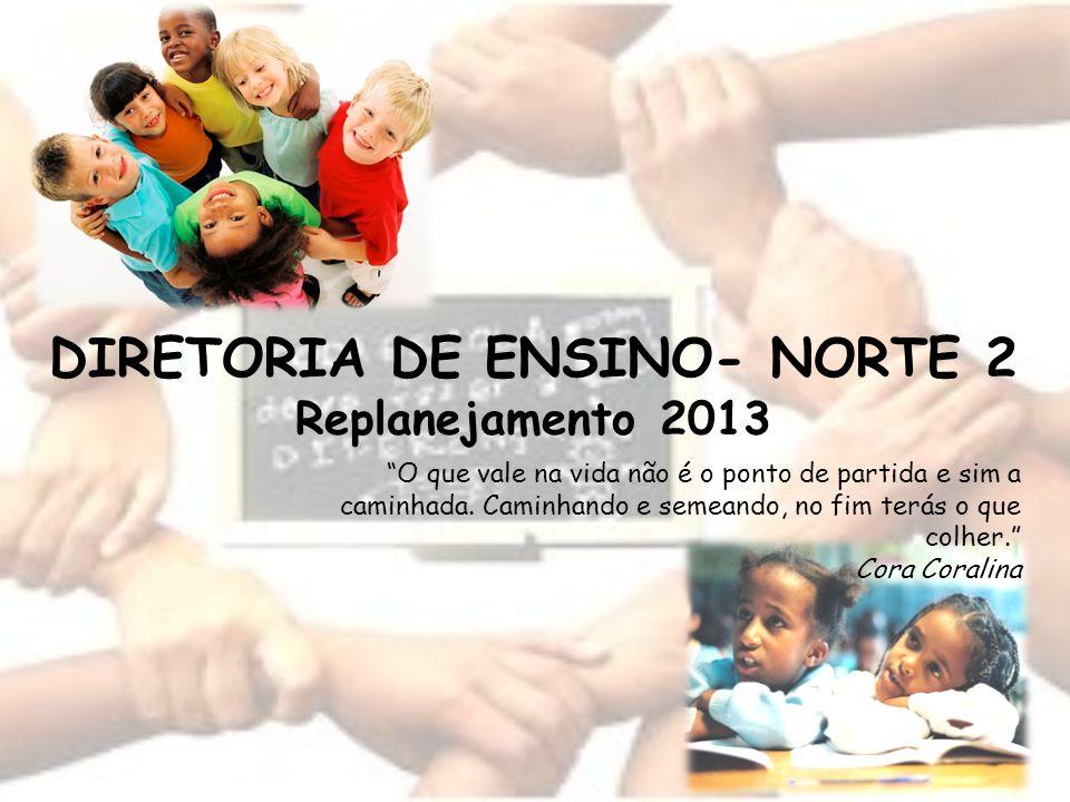 DIRETORIA DE ENSINO- NORTE 2 Replanejamento 2013 O que vale na vida não é o ponto de partida e sim a caminhada.